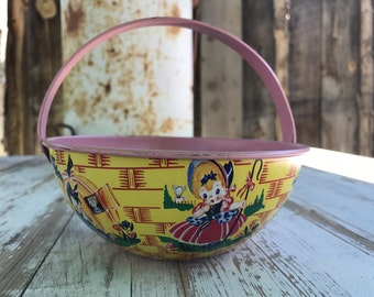 Vintage tin basket/ lithograph on metal/ 50's tin easter basket/ J. Chein & Co. tin/ made in USA 50's tin/ nursery rhymes basket tin