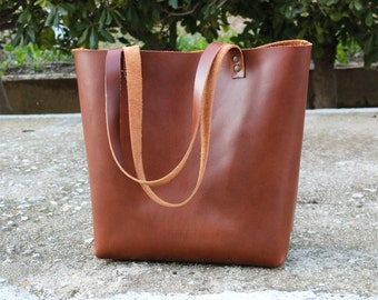 Leather Tote bag, HAND STITCHED Tobacco Tote Bag, Handmade Leather Bag, Women Tote Bag, Leather Tote, MEDIUM, Customization available