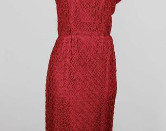1950s Vintage Red Ribbon Lace Dress