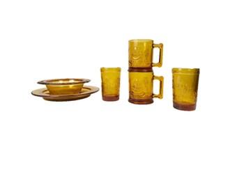 Tiara Amber Mother Goose Dish Set with Mug and Cups