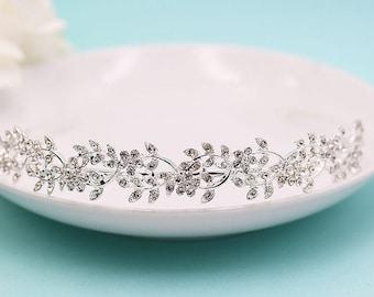 Wedding Head Piece, Bridal Head band, Wedding Headband Crystal, Floral Leaf Headband, rhinestone tiara, crystal tiara 514656252