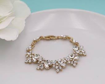 Bridal Bracelet Crystal, Gold wedding bracelet, rhinestone crystal bracelet, crystal bracelet, bridal bracelet 517877544