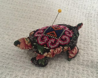 Turtle Pin Cushion, Floral Fabric Turtle Pin Cushion, Counted Cross Stitch , Cotton Floral Fabric, Pin Cushion, Fabric Turtle Pin Cushion