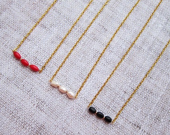 Layering Necklace Dainty Choker Necklaces Bar necklace Girlfriend gift|for|her Gold Choker Pearls necklace Coral necklace Tiny necklaces