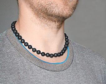 Mens necklace Black lava necklace Lava rock necklace Black necklace Black men necklace Surfer necklace Surfer choker Gift ideas for him