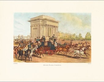 Victorian London Hyde Park Corner horse riding coach carriage vintage print coloured engraving 7 x 9.25 inches