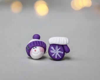 Snowmen Earrings - Christmas Earrings - Christmas Jewellery - Winter Jewelry - Secret Santa Gifts - Christmas Gifts - Mitten Earrings