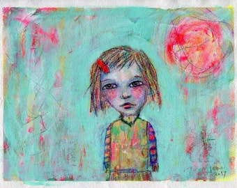 Girl on Teal - original painting on paper 8x10in, mixed media art painting