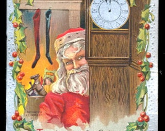 1908 Santa Claus By Grandfather Clock Postcard