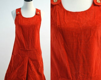 Vintage vtg 60s 1960s 70s 1970s Thermo-Jac Corduroy Romper Jumper Shorts with Front Kangeroo Pocket Overalls Shortalls Medium M Small S