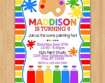 Paint Party Birthday Invitation
