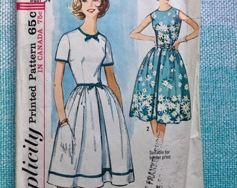 1960s Simplicity 5462 Sewing Pattern Ladies Misses Party Dress Sleeveless Round Neckline Full Skirt Pleat Fitted Early 60s Size 14 Bust 34