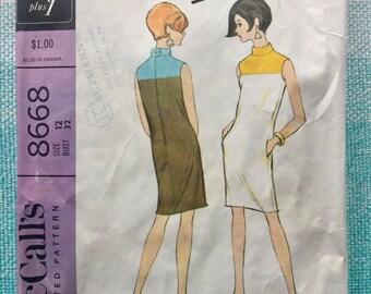 1960s McCall's 8668 Sewing Pattern Jacques Tiffeau Designer Ladies Misses Sheath Shift Dress Color Block Collar Mod Pockets Size 12 Bust 32