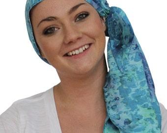 Jessica Pre-Tied Head Scarf, Women's Cancer Headwear, Chemo Scarf, Alopecia Hat, Head Wrap, Head Cover for Hair Loss - Blue Watercolors