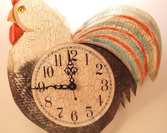 Black Rooster Clock
