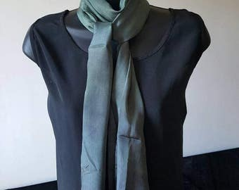 Smokey Sage Green and Grey pure silk long scarf, birthday gift, evening wear