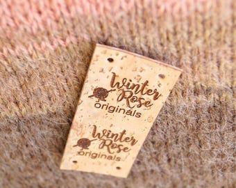 Custom clothing labels, vegan cork leather labels, garment labels, knittinf logo labels, crochet labels, personalized leather labels, 25 pc