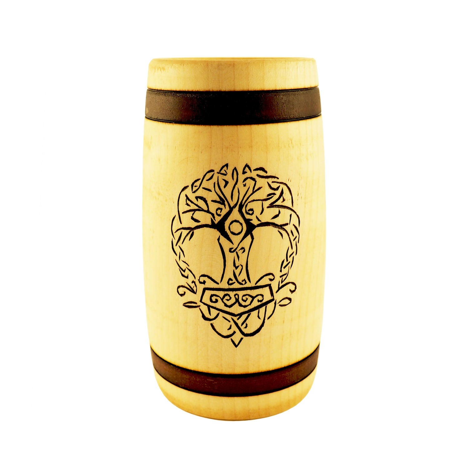 hand carved wooden beer mug 0 7 litre 23 oz with yggdrasil and