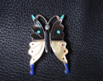 Natie American Zuni Butterfly  Silver Pendant/Broach  #15