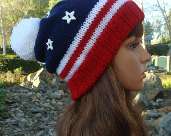 4th of July Patriotic Knit Beanie with white star buttons & fold up brim, Patriotic Knit Beanie, Size Teen/Adult - (Flat Stars)