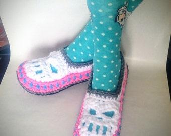 skull crochet slippers Men Women