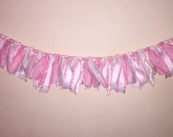 Mini pink and white ribbon banner