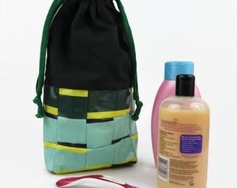 Recycled Wash Bag, Toiletry Bag, black bag, black tote bag, recycled tote bag, make up bag, cosmetic bag, gift for her, gift for him, black