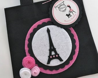 Set of 12 Paris Theme Party Favor Bags with Personalized Thank You Tags, Paris Theme Birthday, Eiffel Tower Party, Paris Party