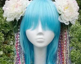 Fairy dread headpiece, flower headpiece, mermaid crown, rave headpiece, yarn dread headband, flower fairy, flower dread headpiece