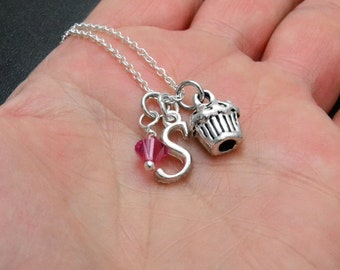 CUPCAKE Necklace, Personalized Girls Jewelry, Girls Birthstone Necklace, Initial Jewelry, Silver Cupcake Charm Pendant, Swarovski Crystal