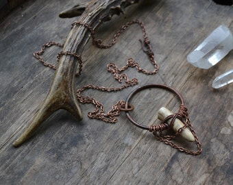 Antler necklace, antler tip necklace, antler tip pendant, primitive, boho, antler tip on chain necklace, copper and antler, antler tip