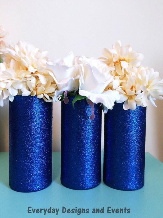 Blue vases glass wedding centerpiece baby shower