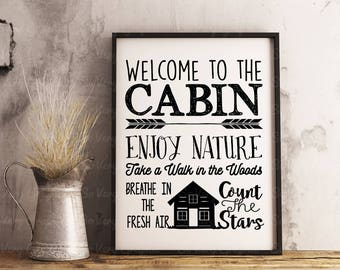 Welcome to the Cabin | Cutting File | Printable | svg | eps | dxf | png | Vinyl Wall Decal Design | Home Decor | Stencil | Woods | Camping