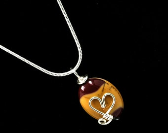 Valentine Heart Gemstone Necklace Moukaite Wire Wrapped Pendant Natural Stone Jewelry Pendant Silver Jewelry Heart Jewelry (502111819)