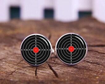 Target tie clips, Target cufflinks, Target Cuff links, Hunter cuff links, Gun lover cufflinks, custom any photo or text, wedding cufflinks