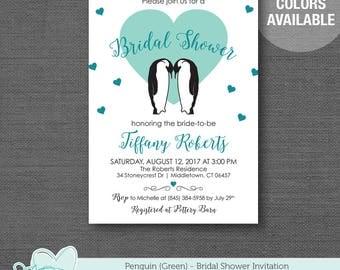 Penguin Green Bridal Shower Invitation Printable, Bridal Shower Invite, Teal, Bride To Be, Hearts, 9P