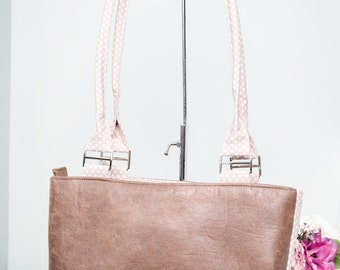 Eco leather tote bag, shoulder bag - distressed look composite leather with beige dotty polka dot lining and zip closure.