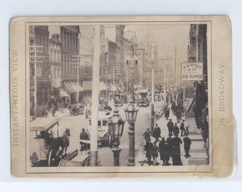 "1890s Istantaneous View On Broadway NYC 4"" x 5"" Sepia Tone Photograph - Trade Signs"