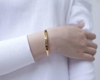 20% OFF - Custom Coordinates Jewelry - Gold Coordinates Bracelet - Tapered Coordinates Cuff - GPS Bracelet - Latitude Longitude Jewelry JB25