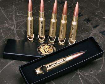 6 Groomsmen Bottle Openers. Custom Engraved Brass 50 Caliber® Bullet Bottle Openers. FREE SHIPPING.