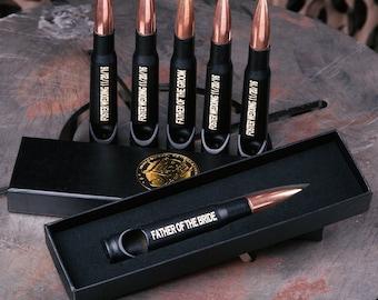 5 Engraved Black 50 Caliber® Bullet Bottle Openers, Groomsman Gift Set, Wedding Party Gift or Usher Gift FREE SHIPPING.