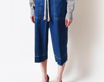 SALE - Ralph Lauren Cropped Denim Trousers Vintage Blue Jean Pants Culottes Medium Rise Minimal Minimalist Classic S M