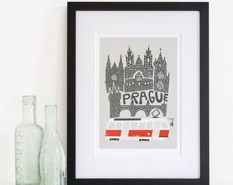 Prague Print, Travel Art, European City, Skyline, Gift for Her, Him, Buildings, Architecture Art, Czech Republic, Wedding Gift, Globetrotter
