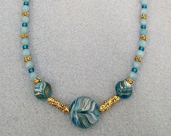 Czech Glass and Amazonite necklace