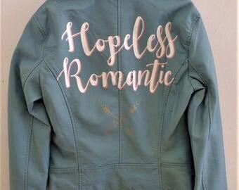 Hopeless Romantic' Hand Painted Leather Jacket Something Blue Customizable