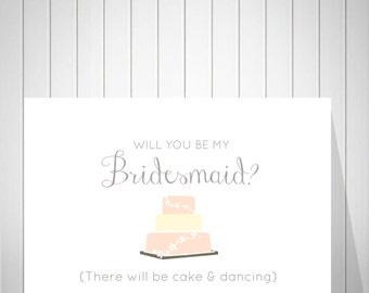 Bridesmaid Card, Will you be my Bridesmaid, Be my bridesmaid? Bridesmaid proposal, Wedding Invitation, Bridesmaid Invitation - 60177B