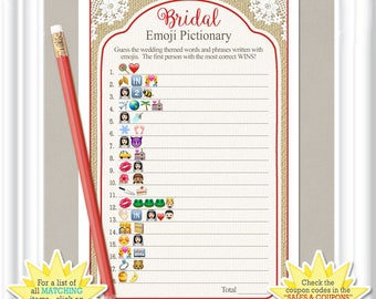 EMOJI Pictionary Bridal game, country/rustic style with red accents, lace Bridal Shower Emoji game, ANSWERS included, diy Printable,  49BR