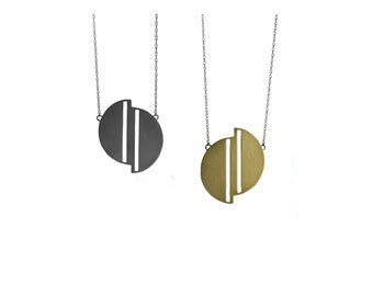 Full Moon necklace - geometric moon design