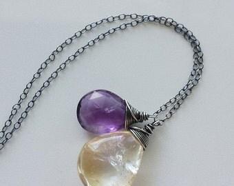 Amethyst Necklace, Citrine Necklace, Oxidized Amethyst Neclace, Oxidized Sterling Silver Necklace, Amethyst Pendant