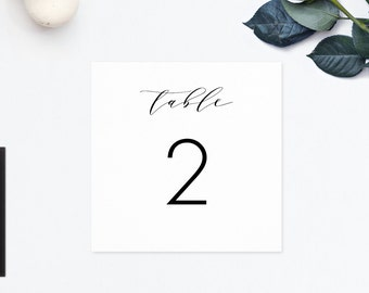 Printable Table Numbers, Calligraphy Wedding, Table Numbers for Wedding, Head Table Card, Reserved Card, Wedding Table Cards - Number Cards